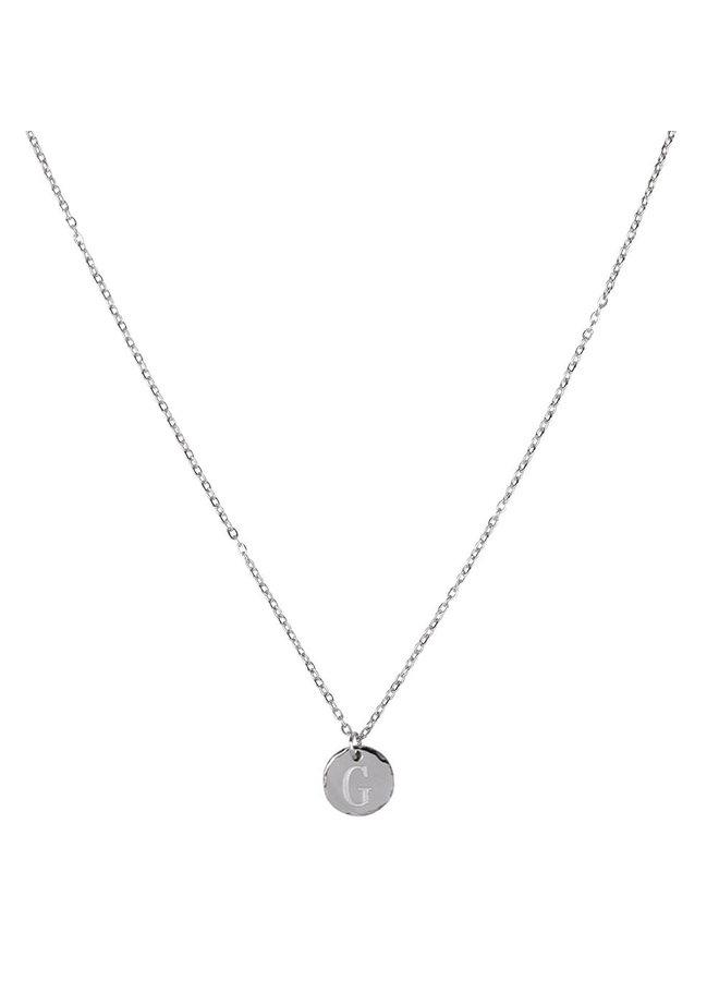 Ketting met letter G stainless steel,  zilver