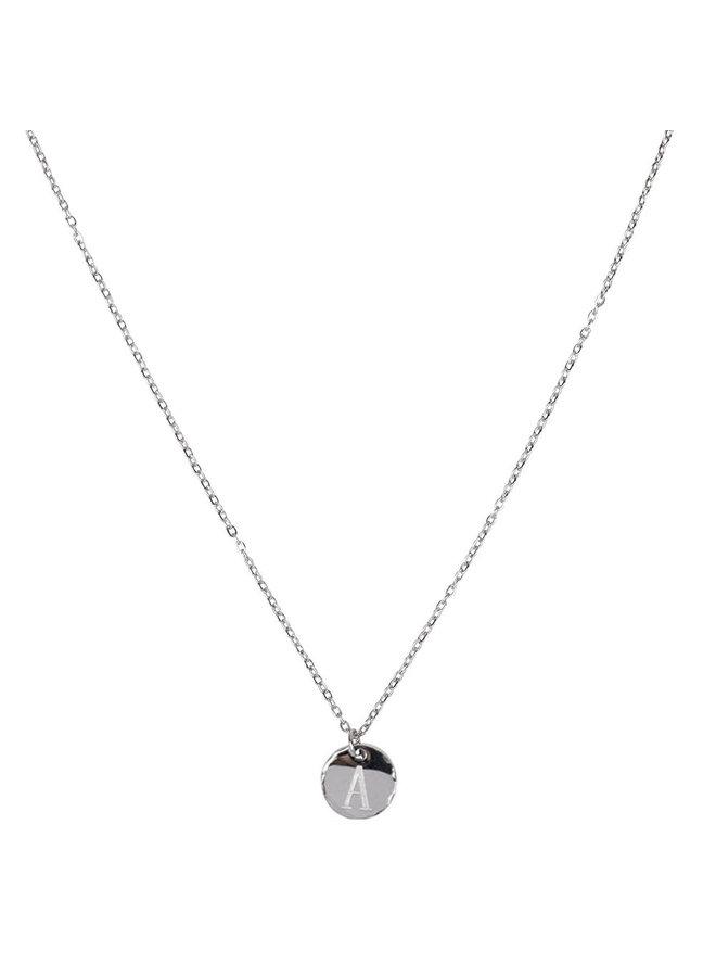Halskette mit Buchstabe A Edelstahl, Silber