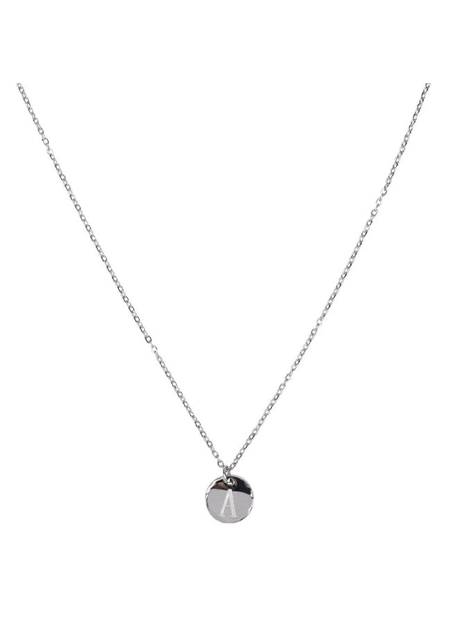 Necklace with letter A stainless steel, silver