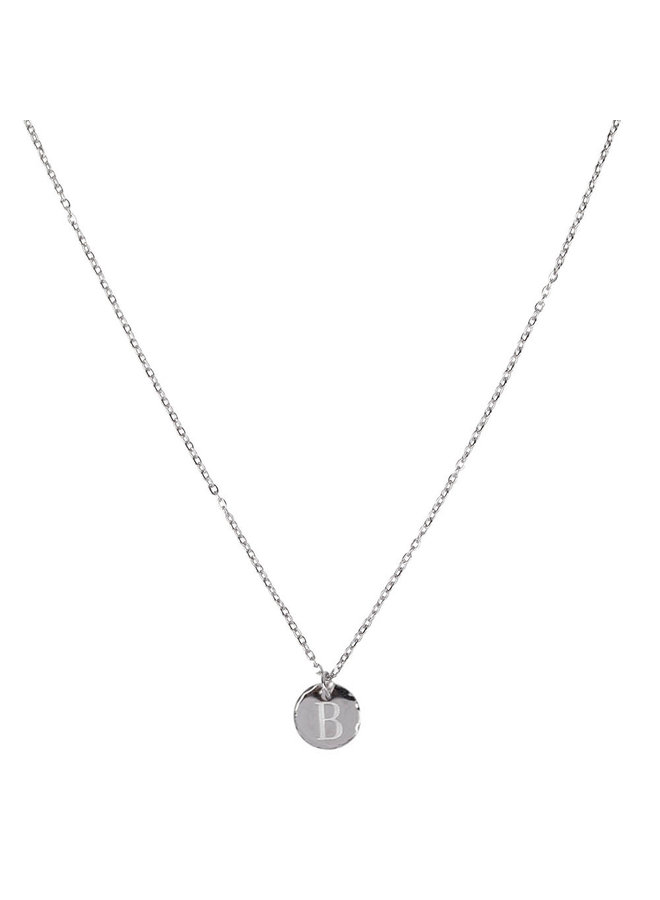 Necklace with letter B stainless steel, silver
