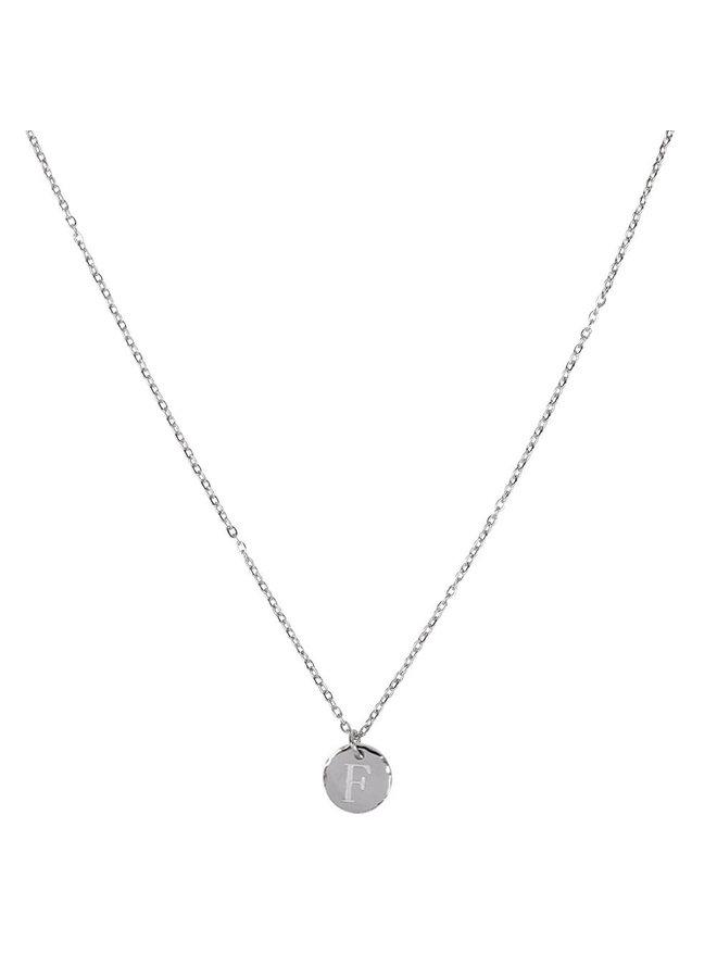 Ketting met letter F stainless steel,  zilver