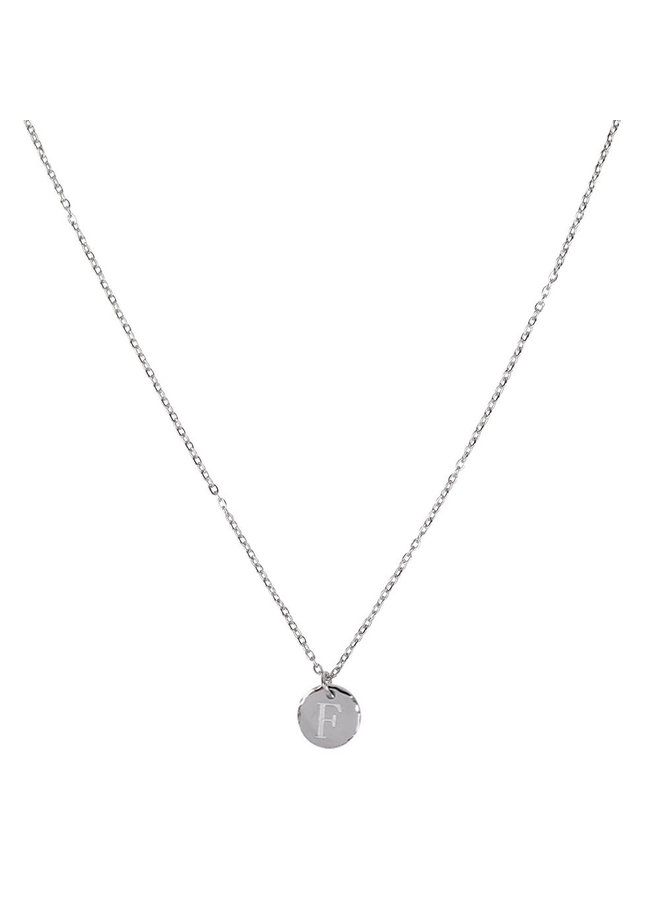 Necklace with letter F stainless steel, silver