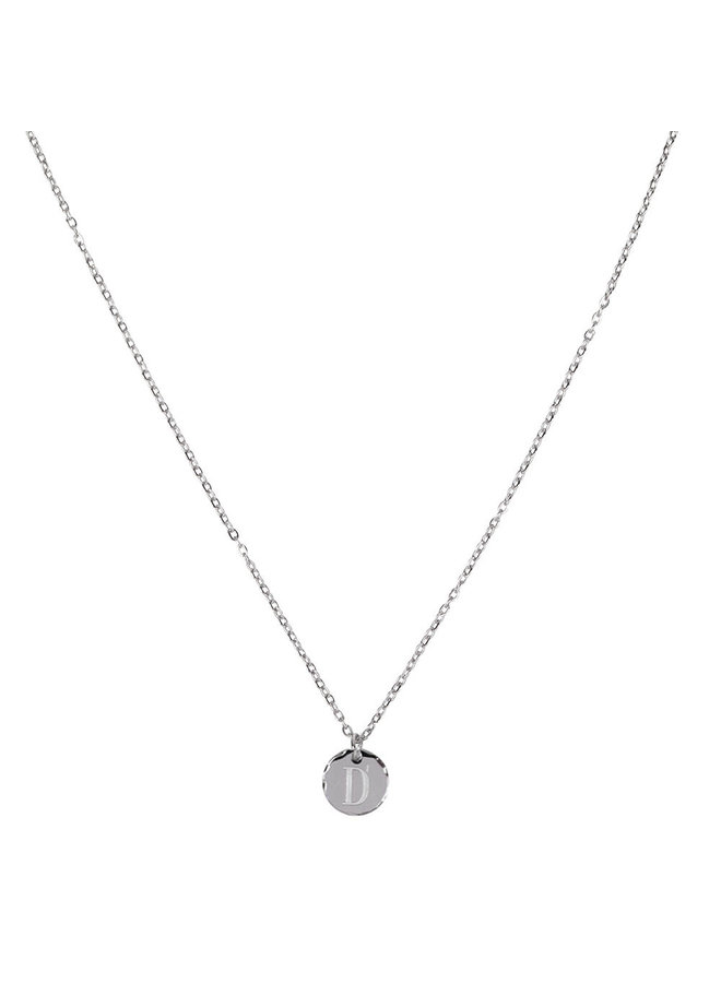 Necklace with letter D stainless steel, silver