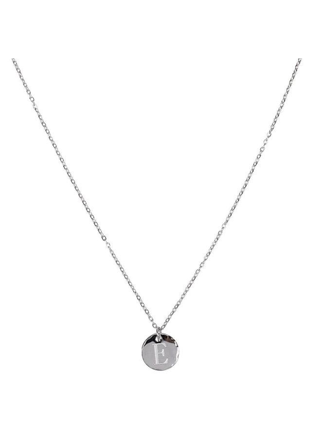 Ketting met letter E stainless steel,  zilver