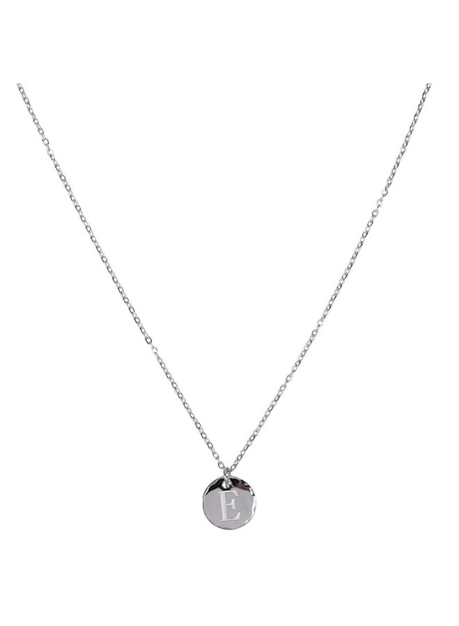 Necklace with letter E stainless steel, silver