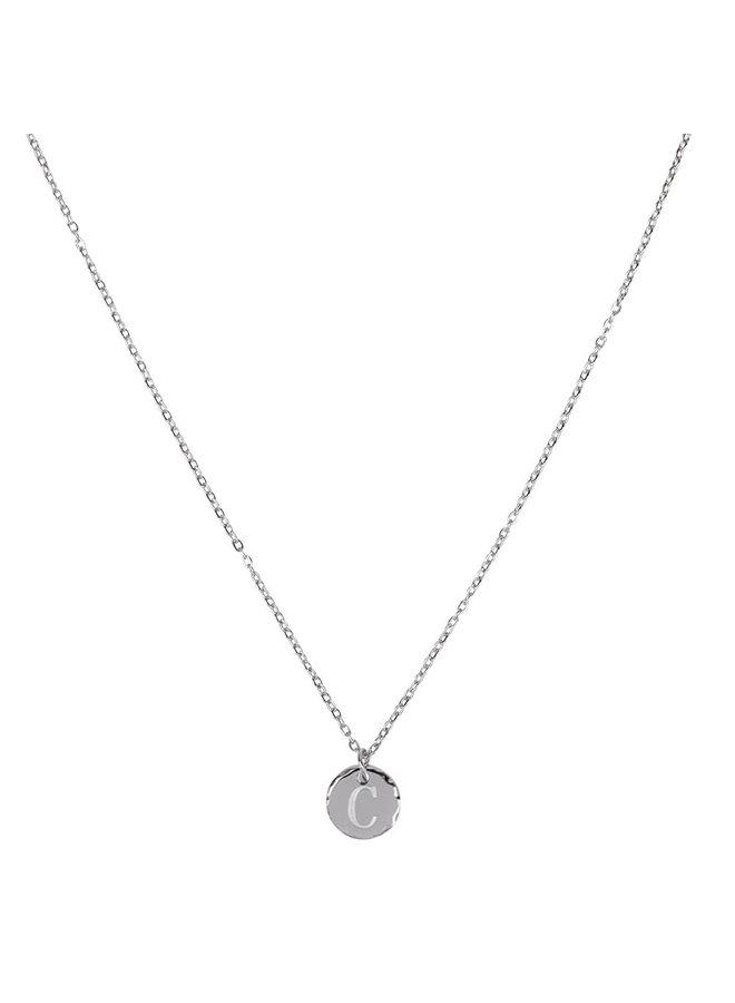 Jozemiek ketting met letter C stainless steel, zilver