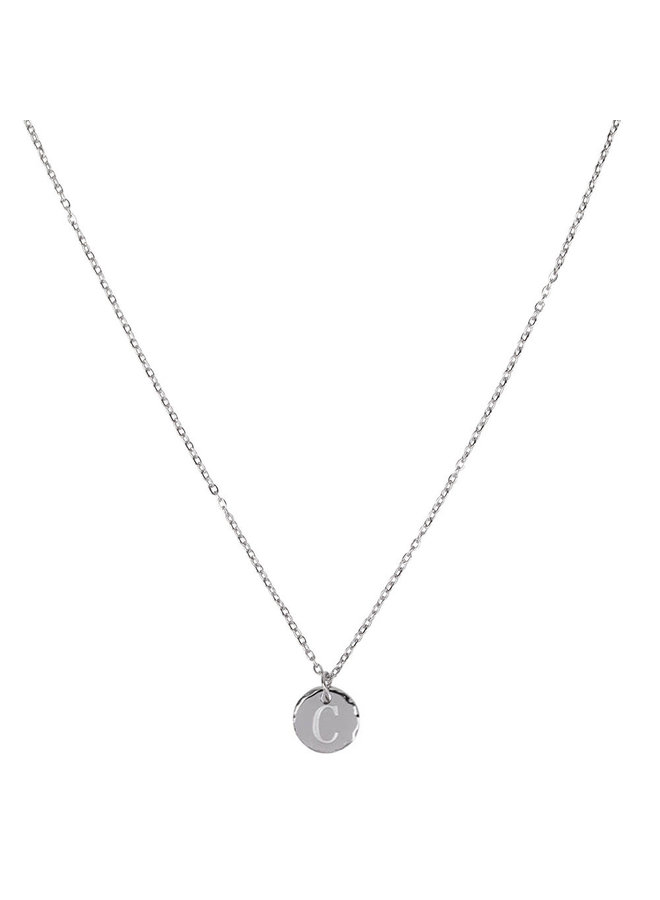 Necklace with letter C stainless steel, silver