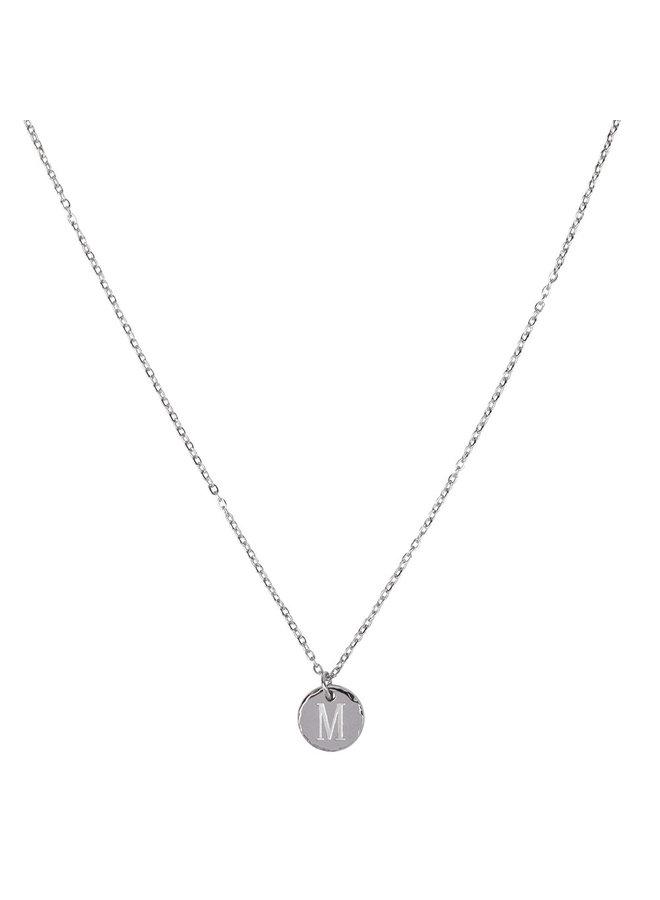 Ketting met letter M stainless steel,  zilver