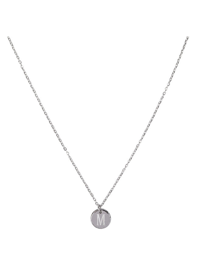 Necklace with letter M stainless steel, silver