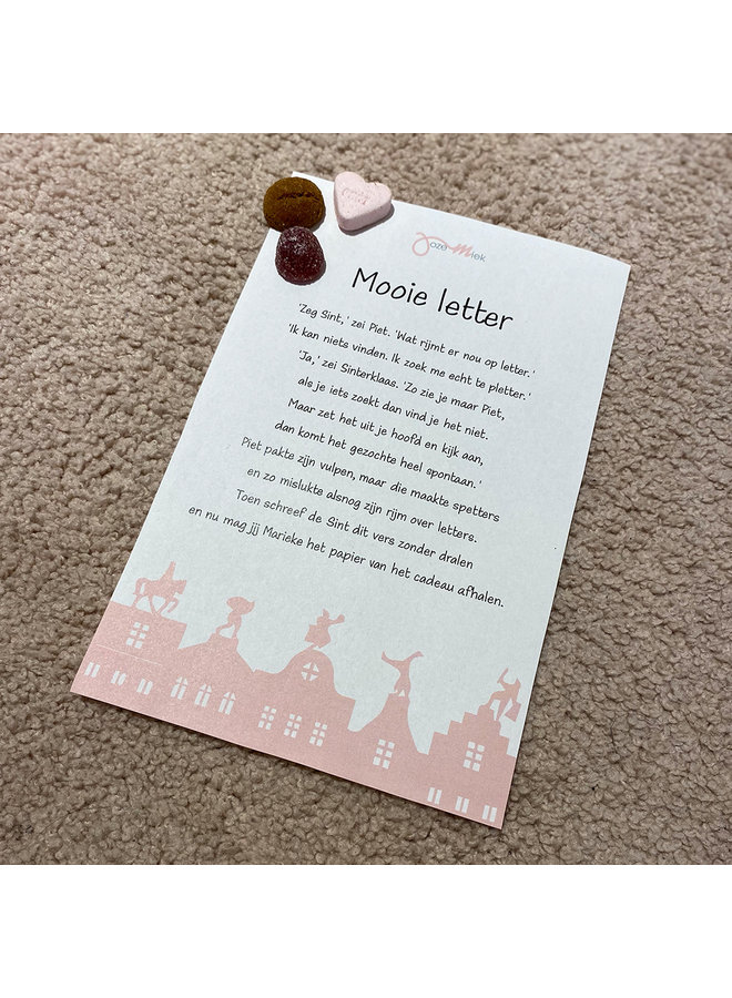 Jozemiek SINT SURPRISE Necklace with letter with POEM & sprinkles