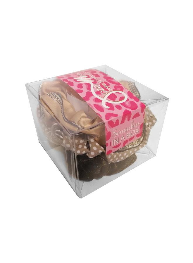 Jozemiek Scrunchie set bruin in geschenk verpakking
