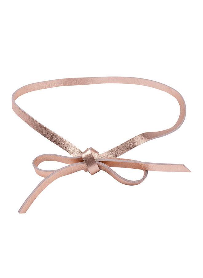 Leather button belt - rose gold