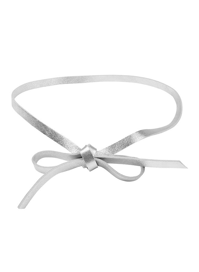 Leather button belt - silver