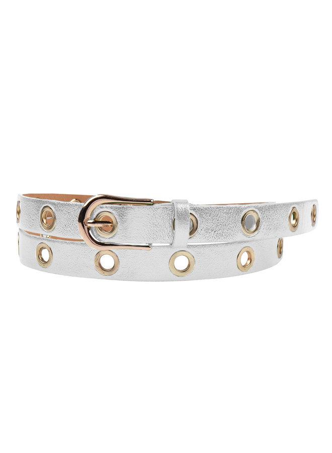Jozemiek Leather belt Maud with metal rings - silver metallic