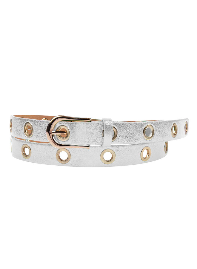 Leather belt Maud with metal rings - silver metallic