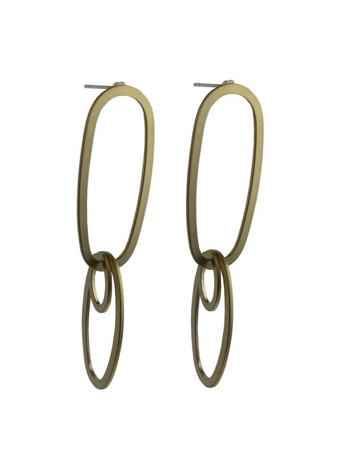 Jozemiek statement earring double matte gold