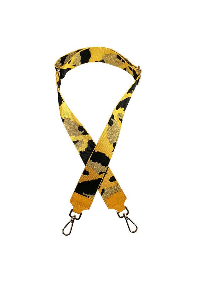 Schouderband camouflage print - geel