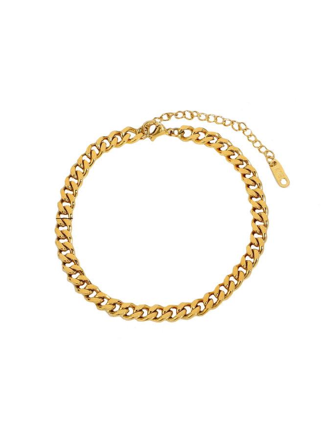 Vintage link bracelet 6mm gold
