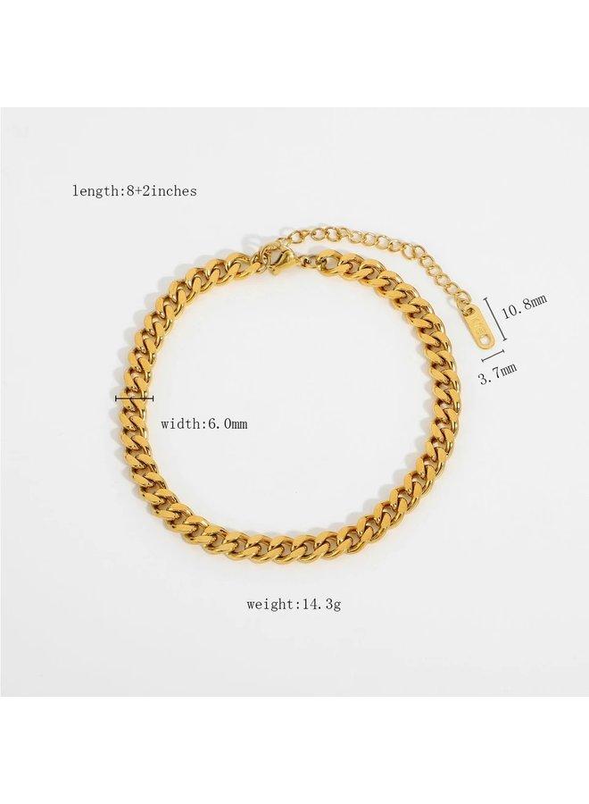 Jozemiek vintage link bracelet 6mm gold