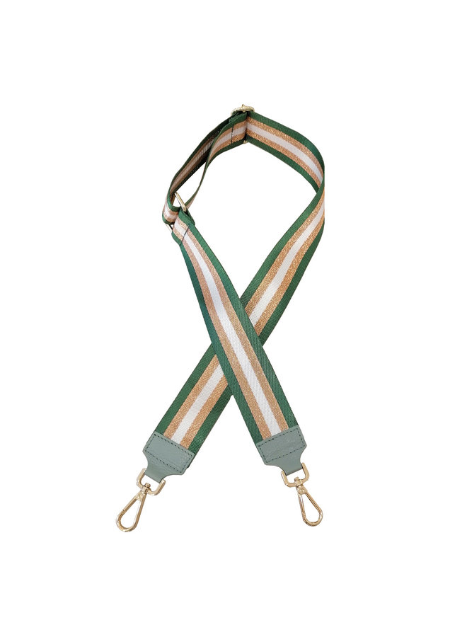 Shoulder strap - Green with brown stripe