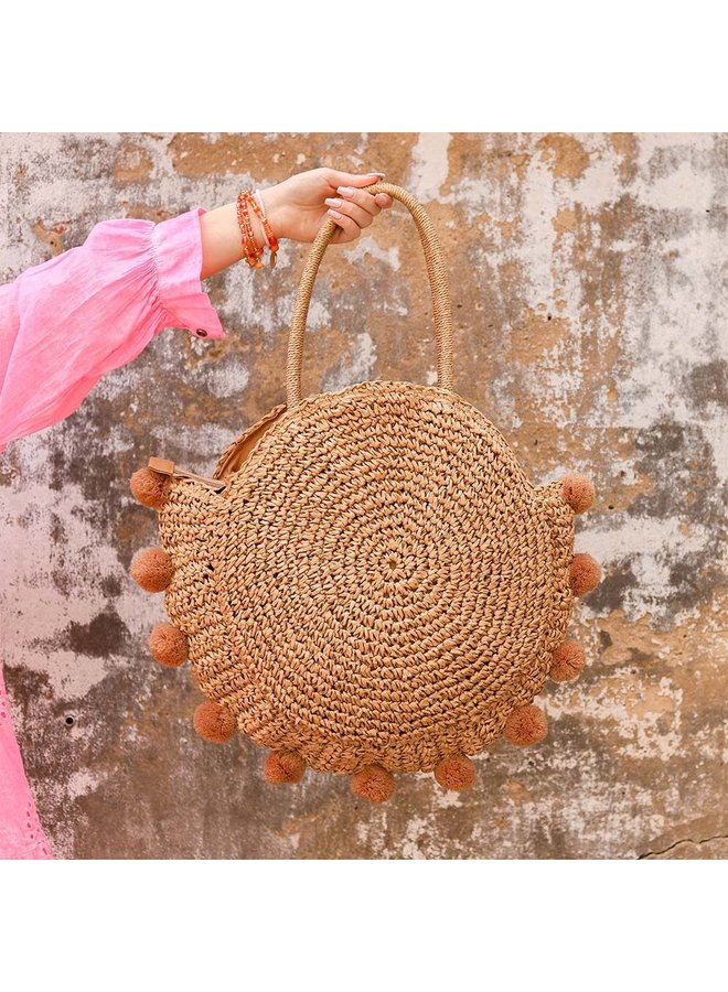 Round beach bag with pompoms - brown