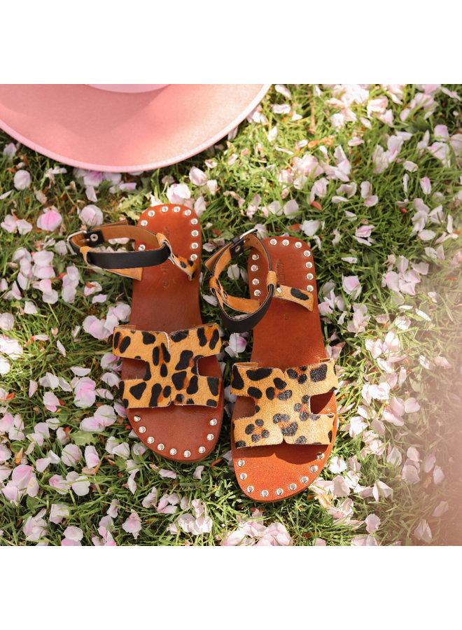 Schwarzer Flamingo Sandale L'élégante Leopard hergestellt in Marokko