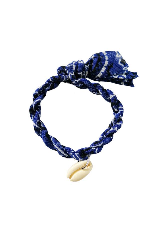 Jozemiek Bandana Armband Kobaltblau mit Muschel