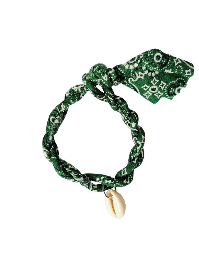 Jozemiek Bandana Armband grün mit Muschel