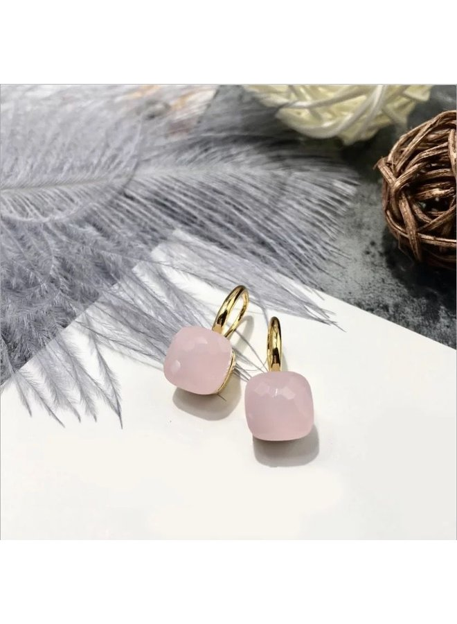 Stone Earring- soft pink