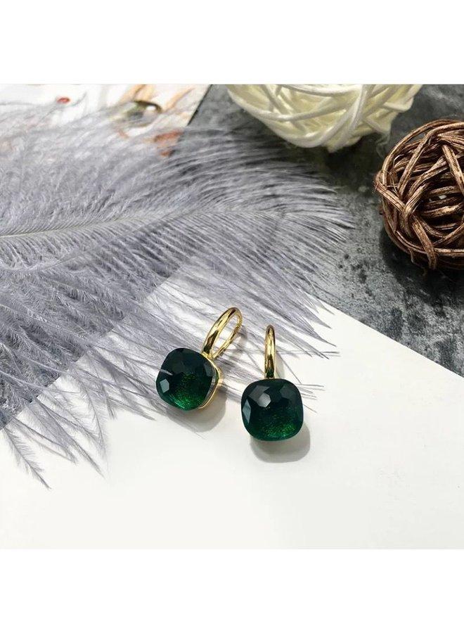 Stone Earring- dark green