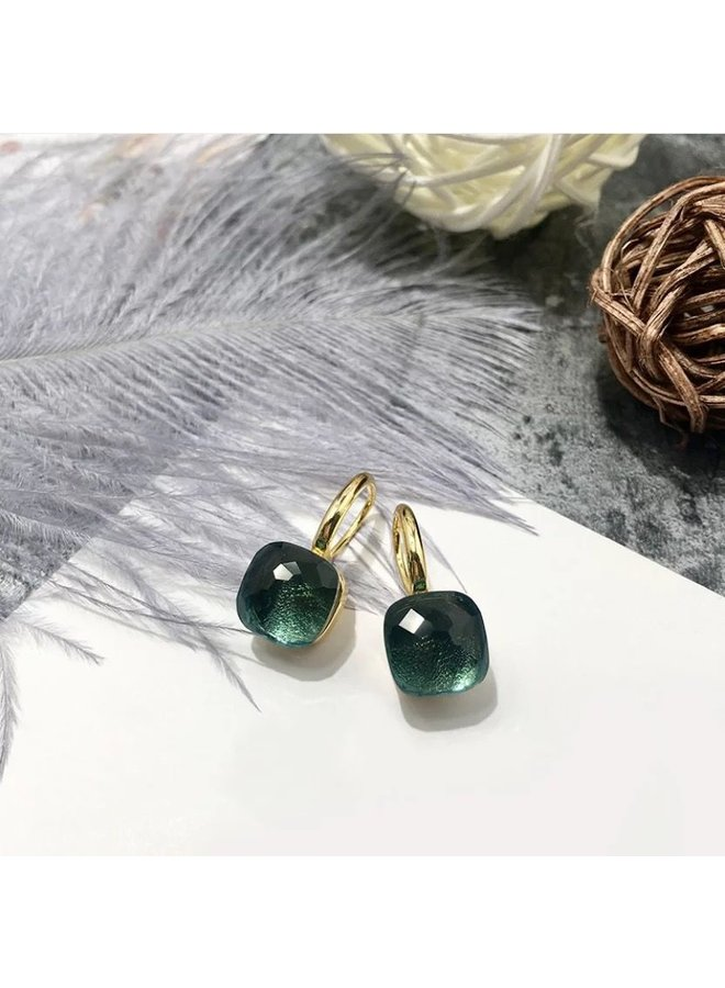 Stone Earring-moss green