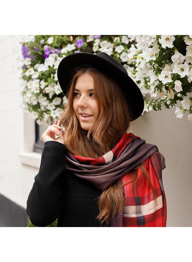 Dubbelzijdige sjaal met  ruit - Rood
