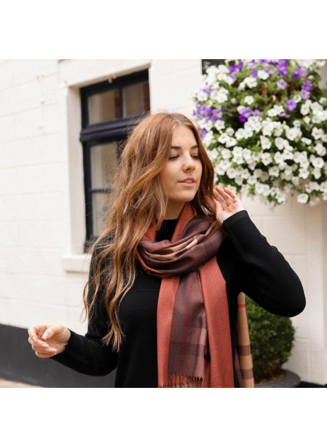 Jozemiek Dubbelzijdige sjaal met ruit - Brique