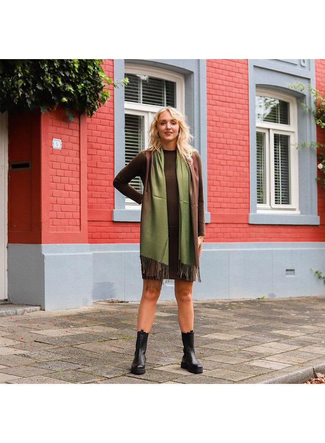 Jozemiek Zweifarbiger Schal mit Glitzer - Grün