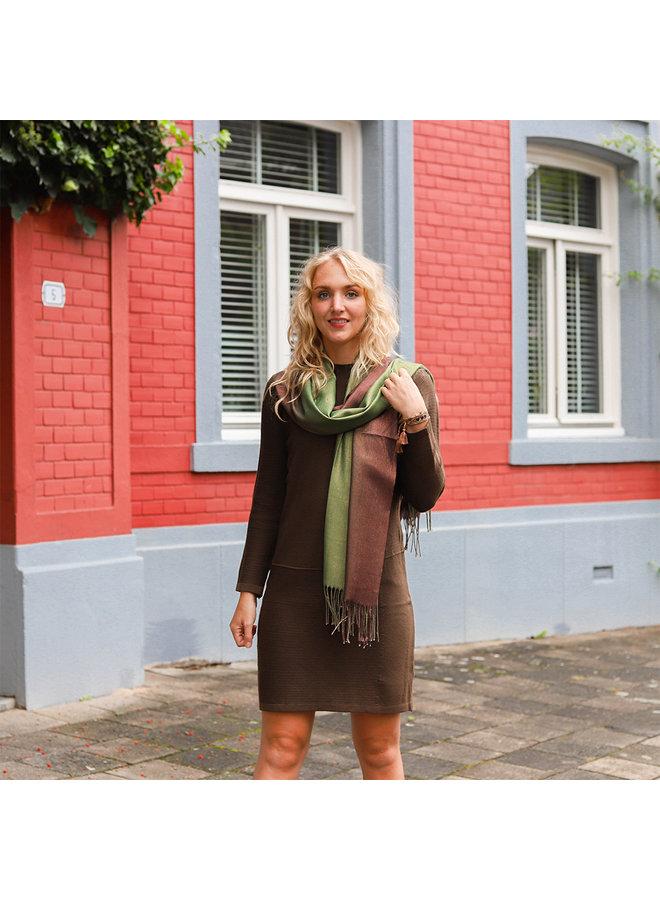 Zweifarbiger Schal mit Glitzer - Grün