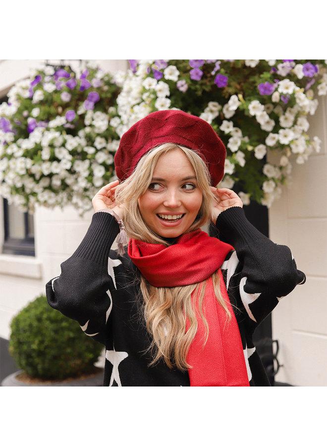 Zweifarbiger Schal mit Glitzer - Rot
