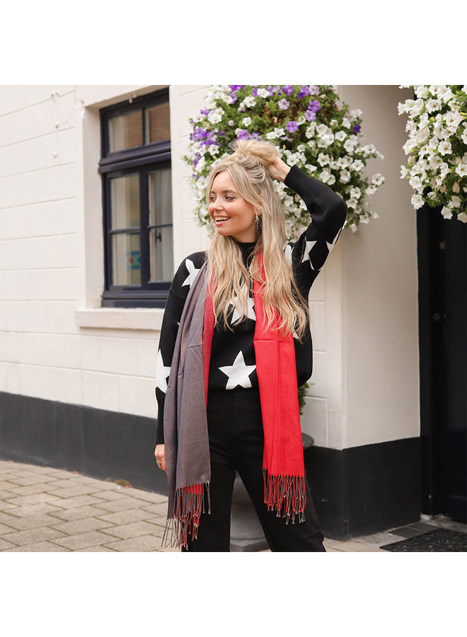 Jozemiek Dubbel kleurige sjaal met glitter - Rood
