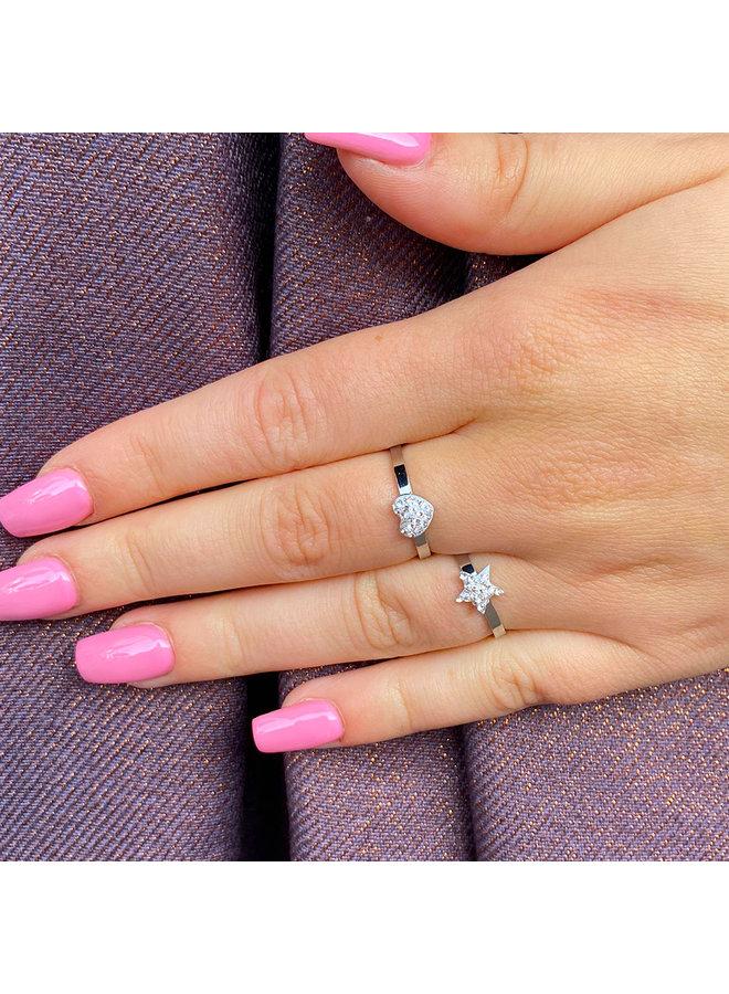 Jozemiek verstelbare Ring met strass steentjes - hartje