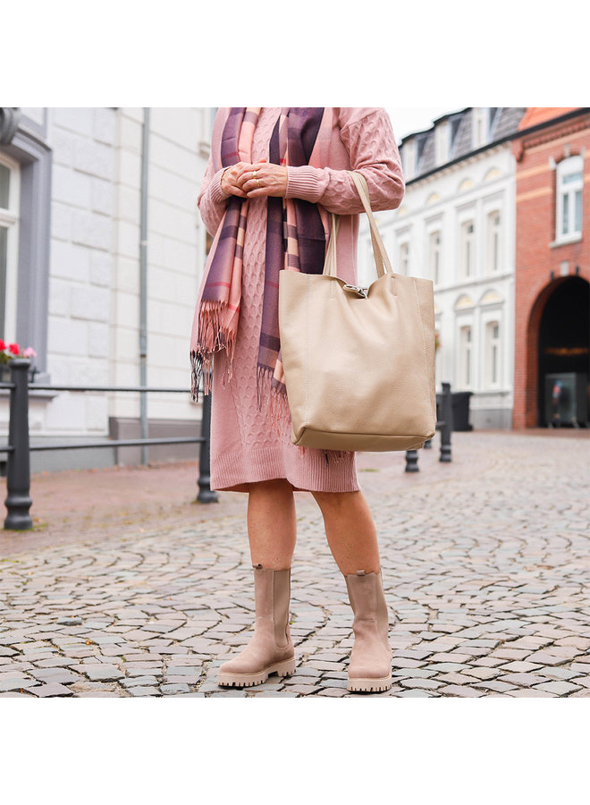Leren Shopper - Beige
