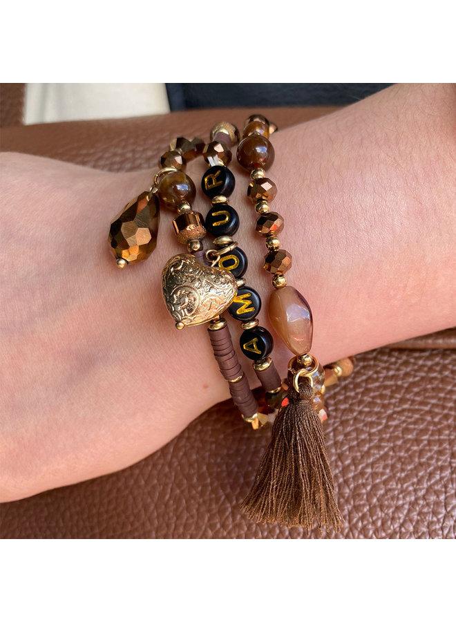 Armbandenset AMOUR - bruin
