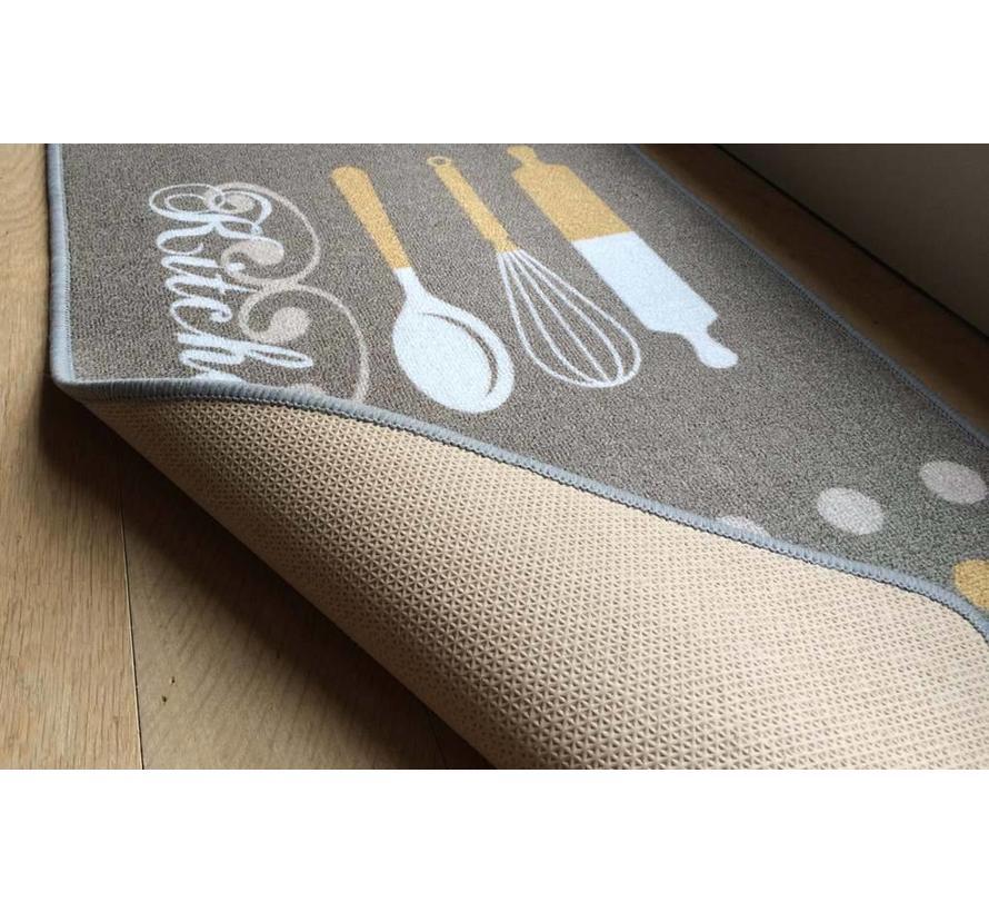 Tapis de cuisine antidérapant, brun