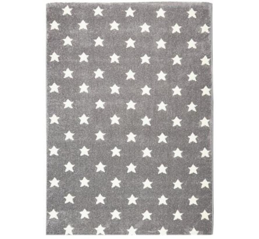 Kindertapijt grijs met witte sterren