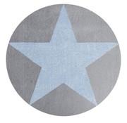 Rond kindertapijt grijs met blauwe ster