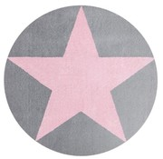 Rond kindertapijt grijs met roze ster