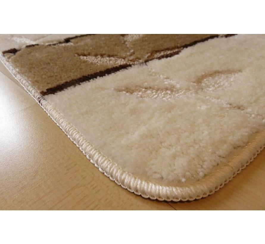 Badmat set ivoor/bruin