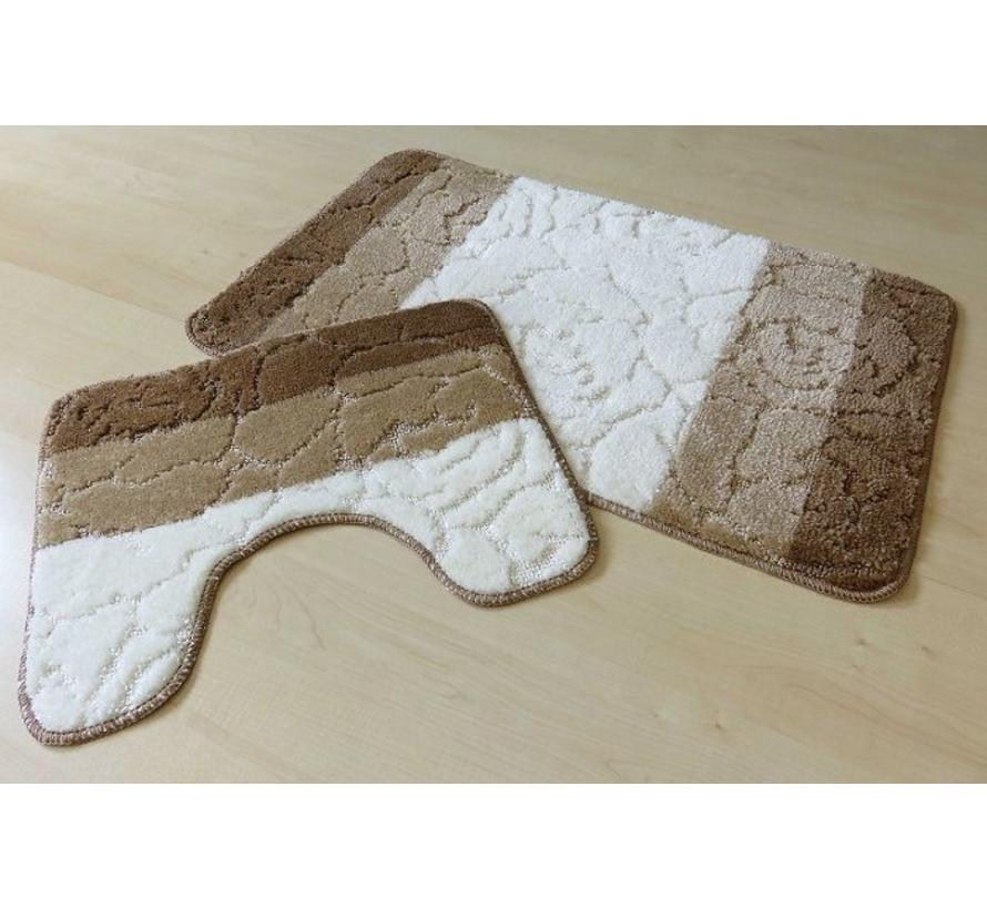 Tapis de bain set, teintes brun et ivoire