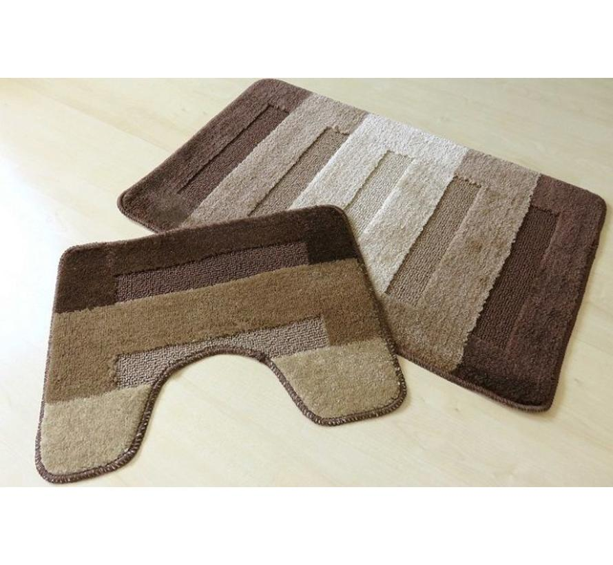 Tapis de bain set, teintes brun