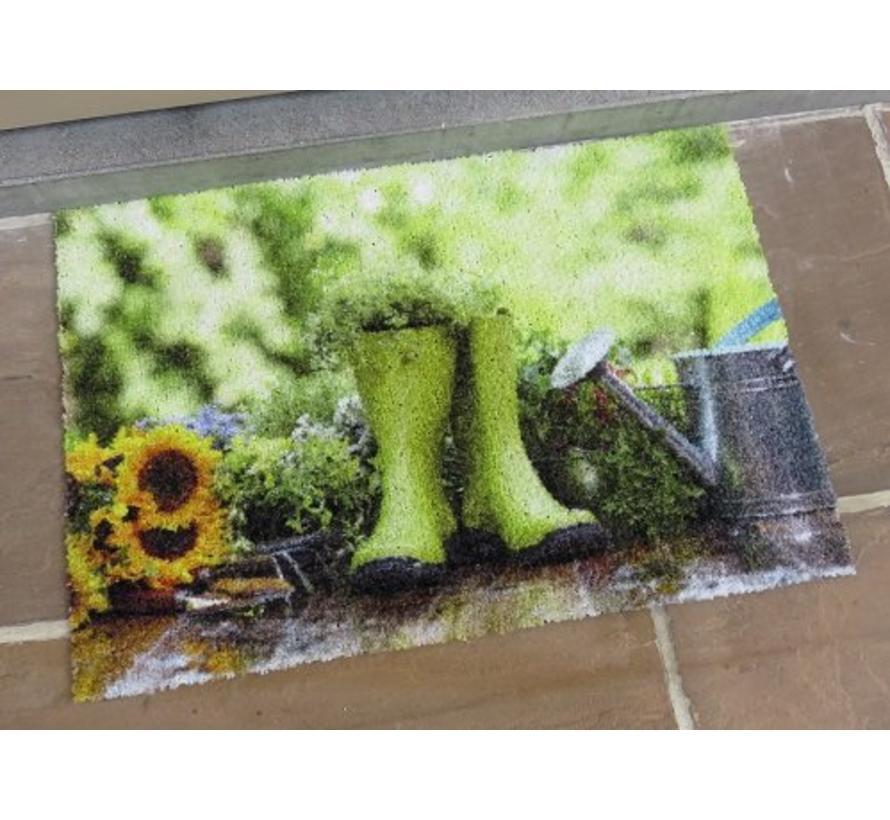 Deurmat foto groene kaplaarzen
