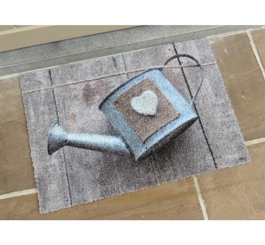 Schrapende deurmat houtlook met gieter