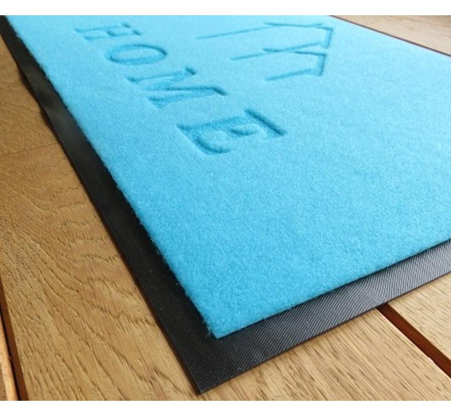 Tapis d'entrée écologique bleu thermo imprimé Home